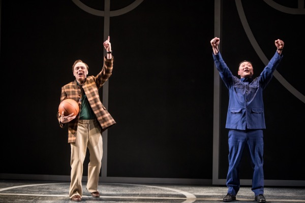 Lee Sellars (Saul) and Kurt Kwan (Wen Chang) in the Guthrie Theater's production of The Great Leap.