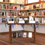 A book display at Cream and Amber