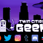 Twin Cities Geek logo with various social media logos under it