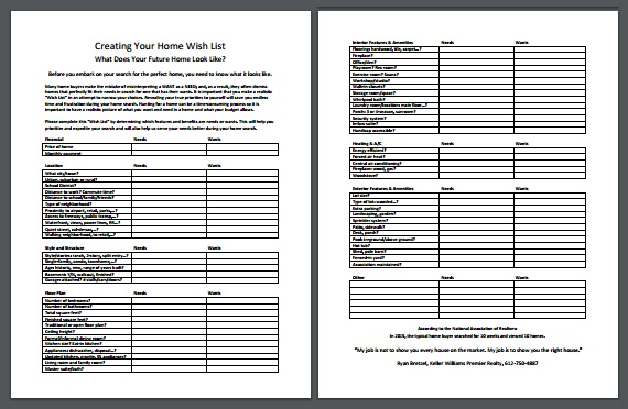 Photo of Creating Your Home Wish List PDF Page 1 and 2