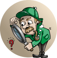 An inspector looking through a magnifying glass