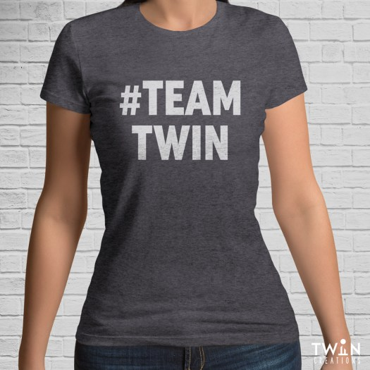 #TEAMTWIN Bold T-Shirt Charcoal