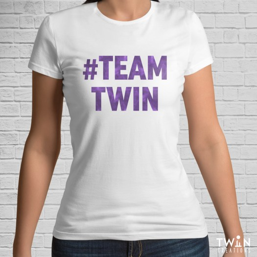 #TEAMTWIN Bold T-Shirt White with Purple