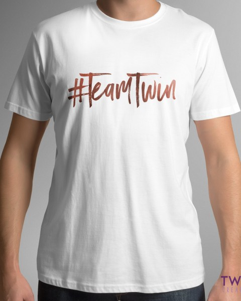team twin mens tee white