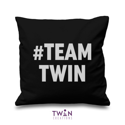 #TEAMTWIN bold cushion cover black