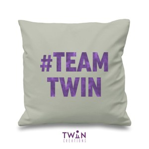 #TEAMTWIN bold cushion cover grey