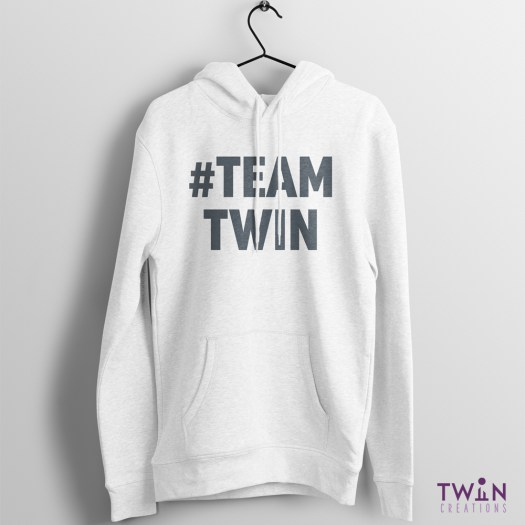 #TEAMTWIN Bold Hoodie White Grey