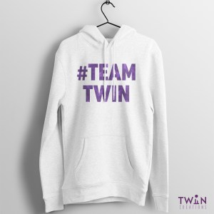 #TEAMTWIN Bold Hoodie White Purple
