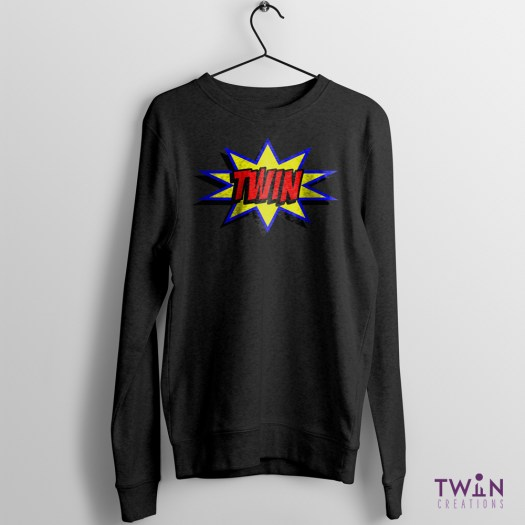 comic twin jumper black bright
