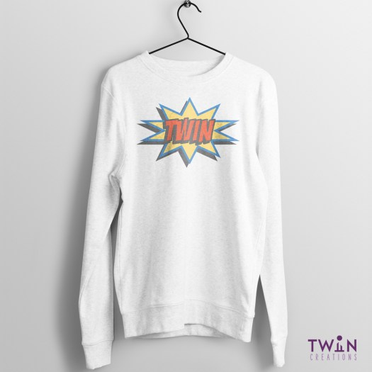 comic twin jumper white pastel