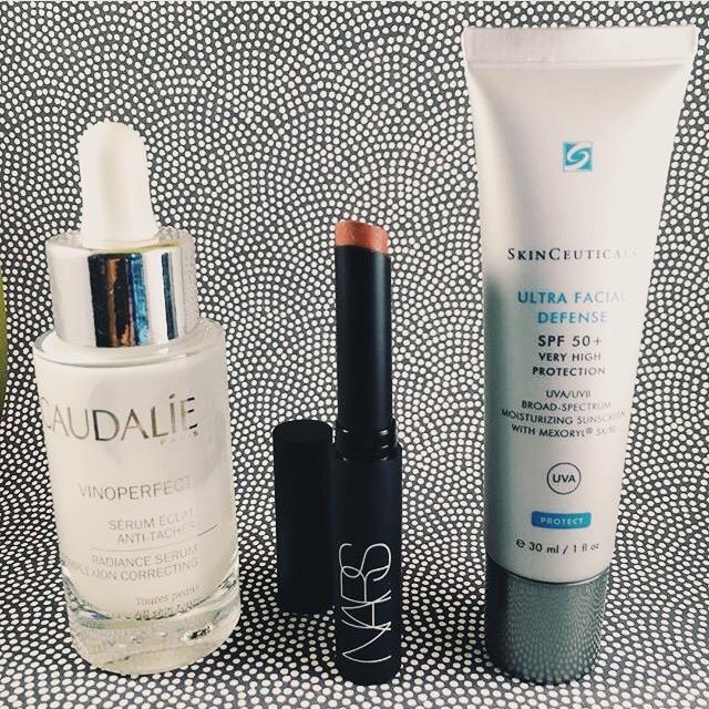 Caudalie Vinoperfect Serum, Nars Pure Matte Lipstick in Amsterdam, Skinceuticals Ultra FacialDefense SPF50