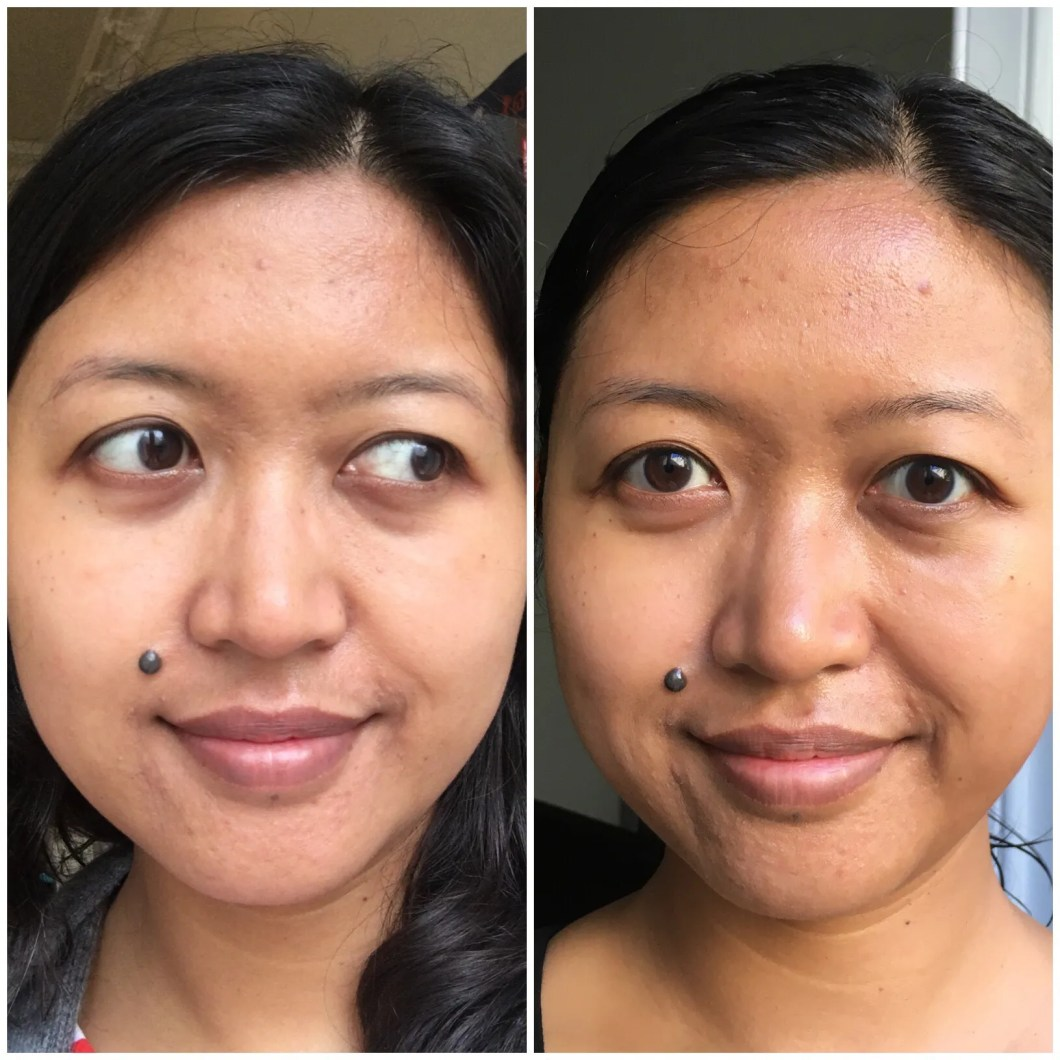Before & After Picture of using NIOD Voicemail Masque.
