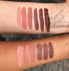 Swatches Kat von D's nude liquid lipsticks on NC15 and NC42.