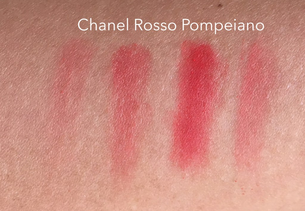 Chanel Rosso Pompeiano Swatch L-R: Lightly without balm, lightly with balm, heavily (using the applicator) with balm, heavily without balm.