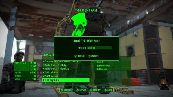 Fallout 4 How To Repair Power Armor