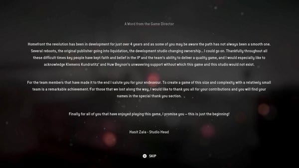 Homefront: The Revolution, Pre-Credits Message, Hasit Zala