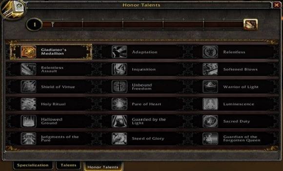 World of Warcraft Legion Honor, Talents Sheet