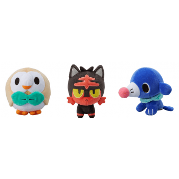 pokemon, sun & moon, plush, pokemon sun & moon, litten, rowlet, poppilo