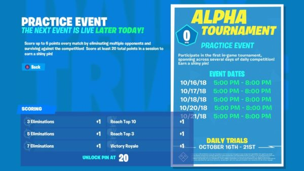 how to get points in alpha tournament, fortnite, fortnite alpha tournament