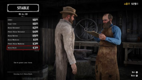 Red Dead Online, how to brush your horse, horse brush