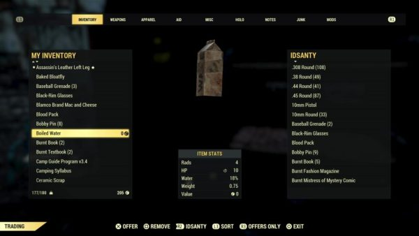 fallout 76, trade, trade items with friends