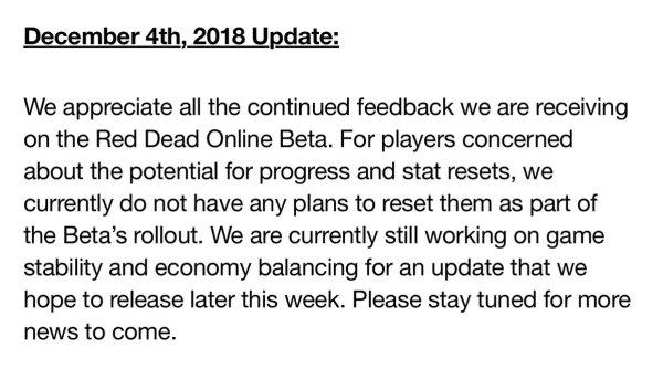 red dead online, beta, update, progress