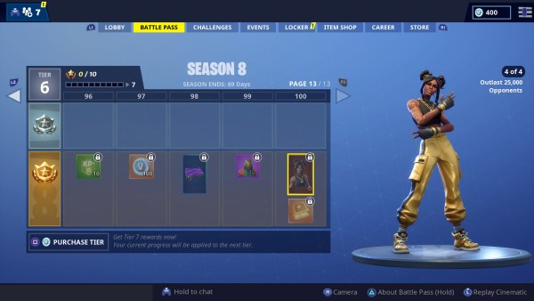 Fortnite season 8, tier 1 skin, 4