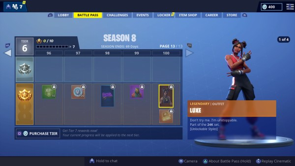 Fortnite season 8, tier 1 skin, 1