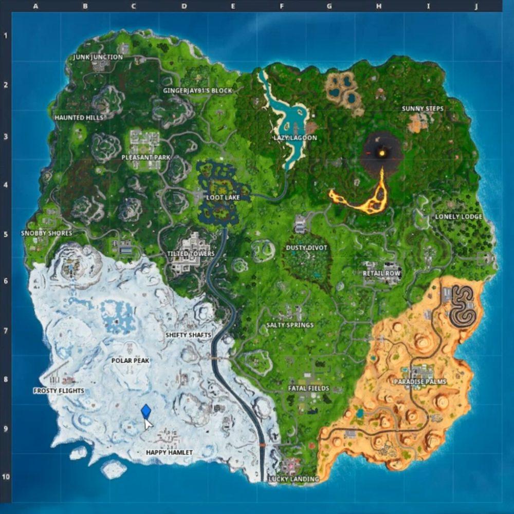 happy hamlet race track map location in Fortnite
