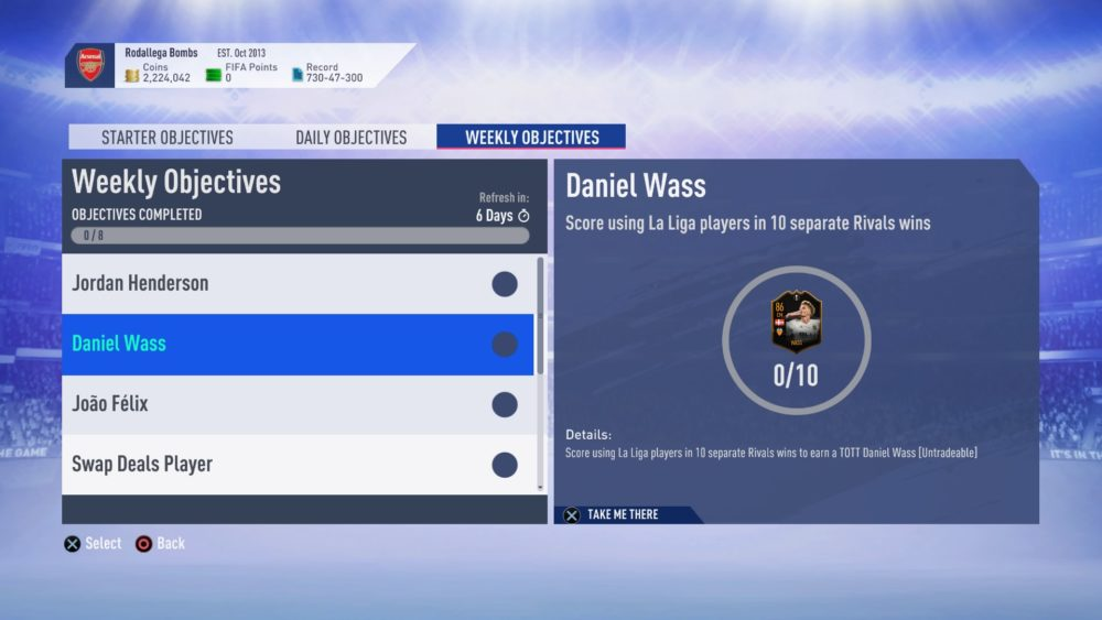 FIFA 19, weekly objectives, totks