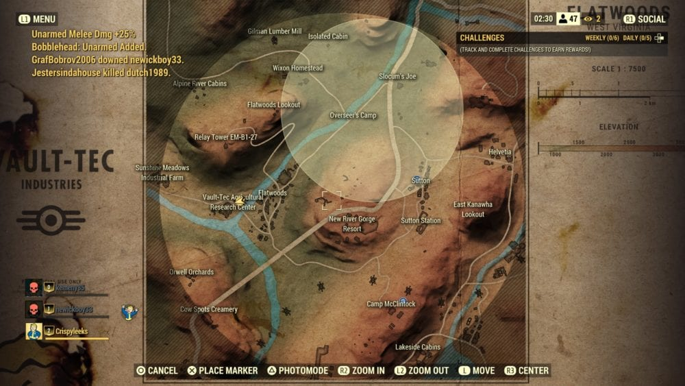 how to check map in Fallout 76 Nuclear Winter