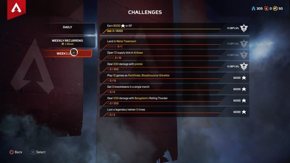 Apex Legends, season 2, week 1 challenges