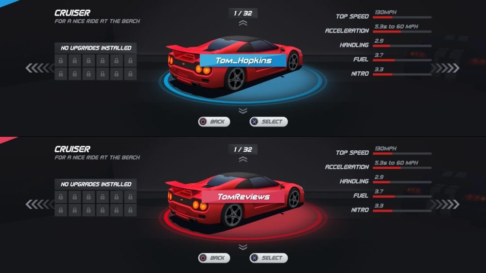 Horizon Chase Turbo, splitscreen multiplayer