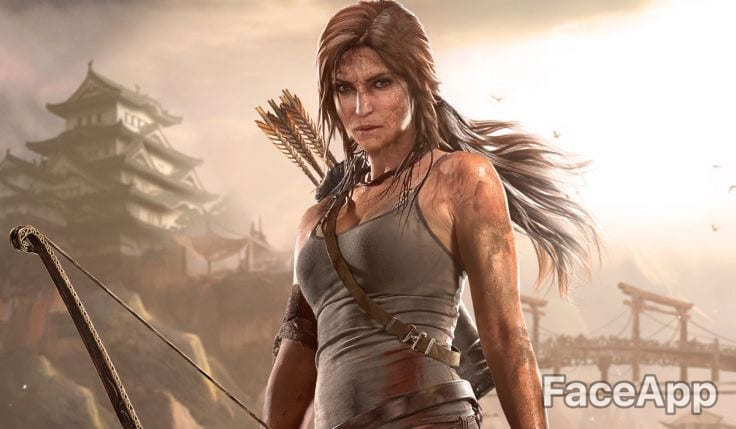 faceapp, lara croft, aged characters