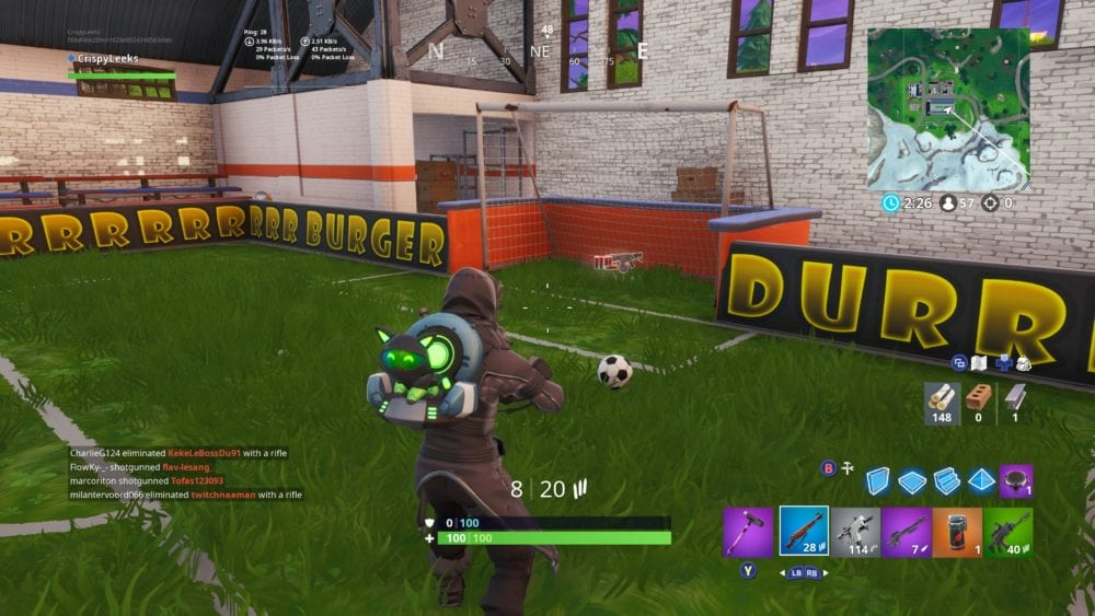 score a goal on indoor soccer pitch, Fortnite overtime challenges