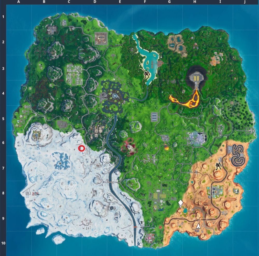 Fortnite search between basement film camera, snowy stone head, gold big rig