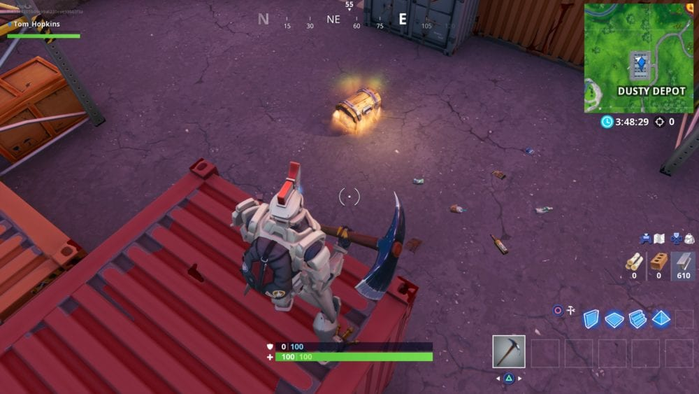 Fortnite, dusty depot, chest spawn locations
