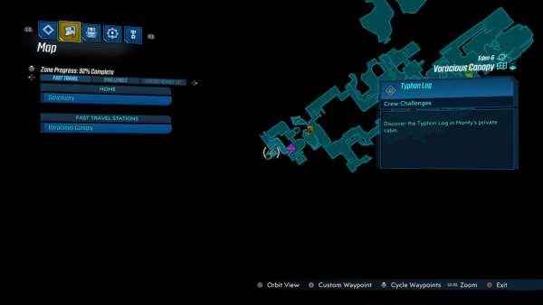 Borderlands 3, ubicación del desafío de la tripulación de Canopy voraz
