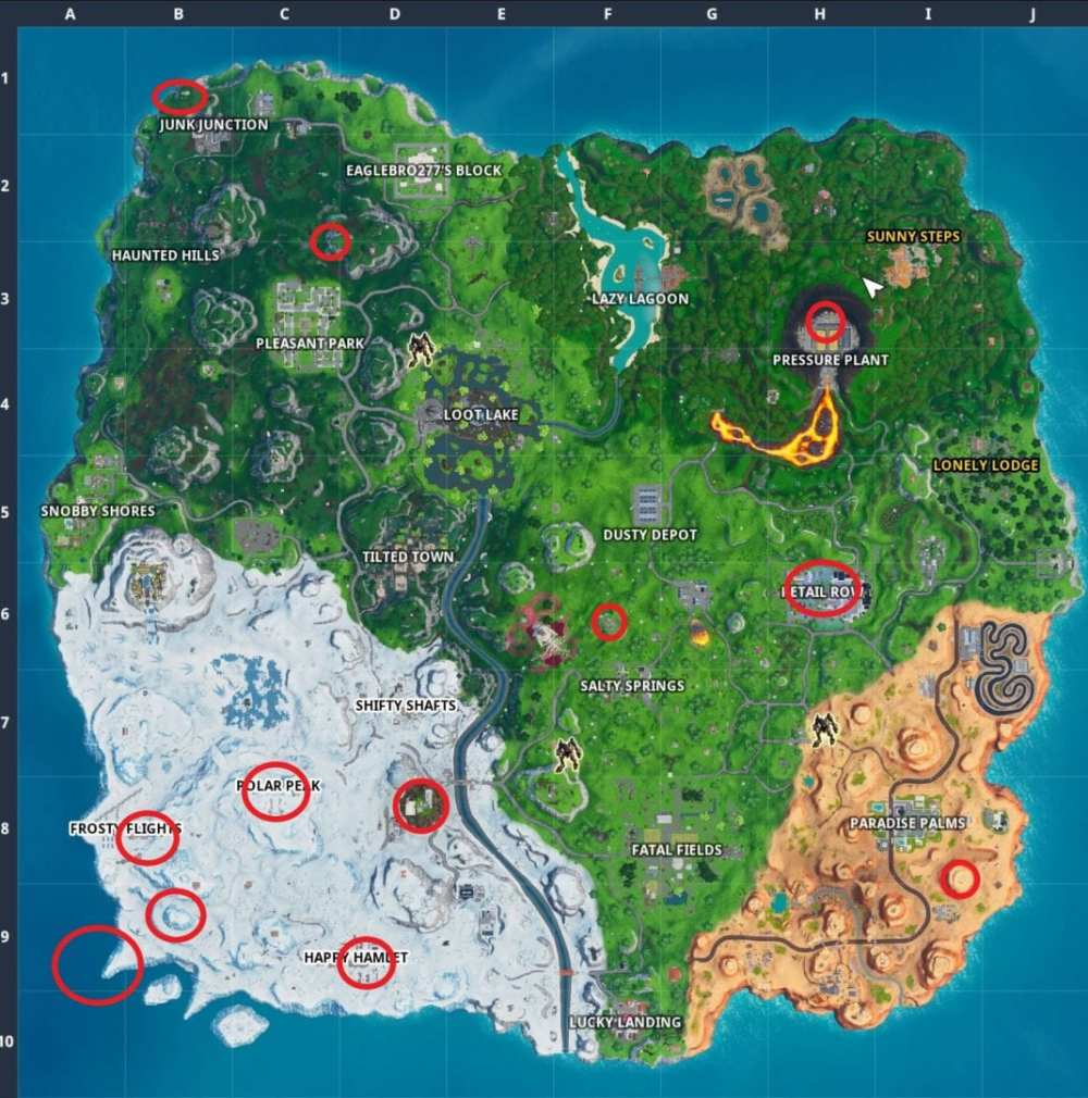 Fortnite No Dancing Signs locations map