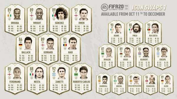FIFA 20, tokens de intercambio de iconos