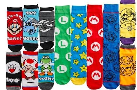 Nintendo socks, mario, wario, yoshi, toad, bullet bill, holiday gifts