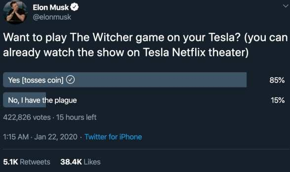 elon musk, the witcher, tesla