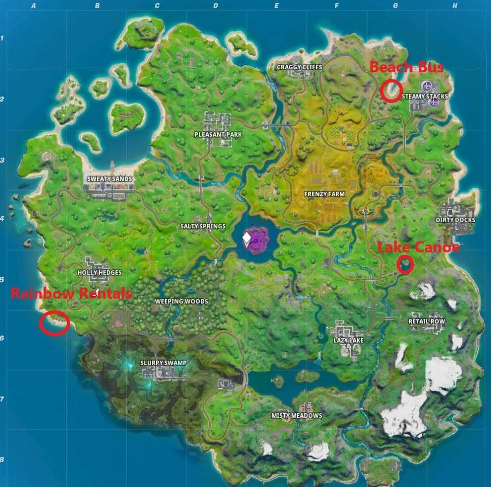 Fortnite Rainbow Rentals, Fortnite beach bus, fortnite lake canoe, locations