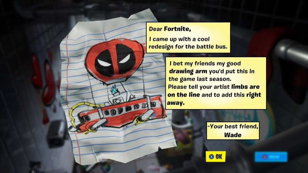Fortnite Deadpool Letter to Epic
