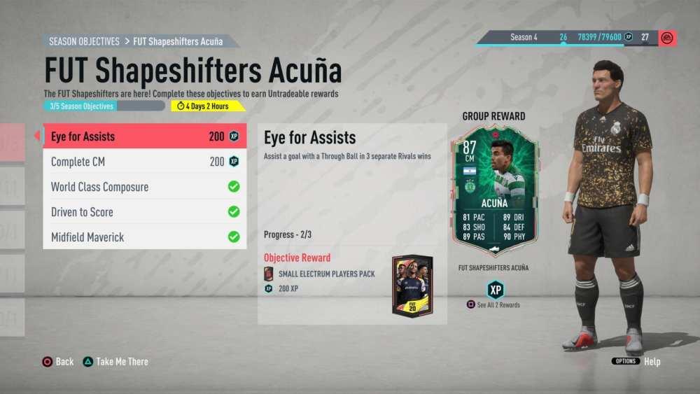 FIFA 20, shapeshifters acuna objectives