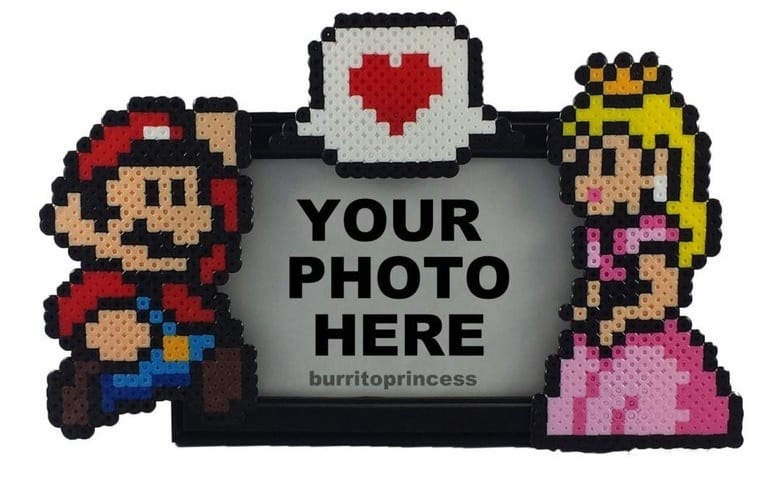 mario and peach, picture frame