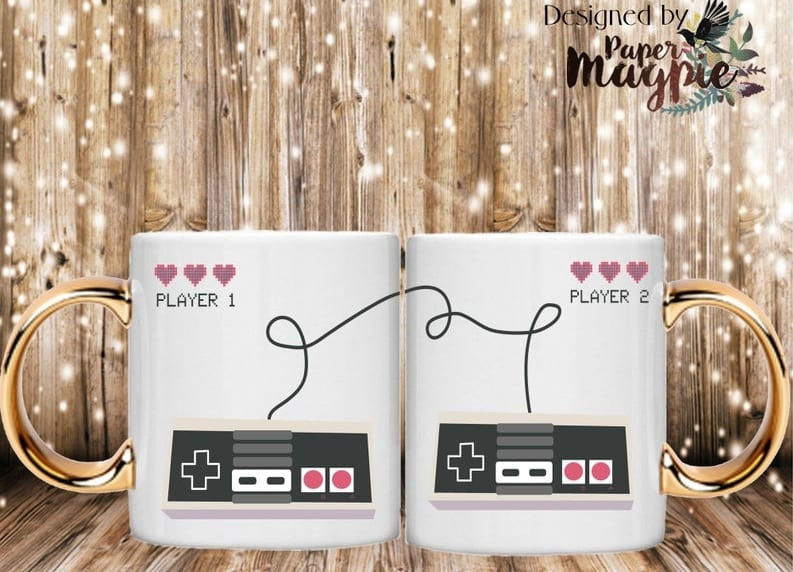 player 1 and player 2, mugs, 7 Romantic Video Game Gifts to Give to Your Significant Other for Valentine's Day