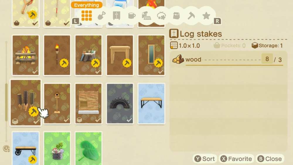 log stakes in animal crossing new horizons