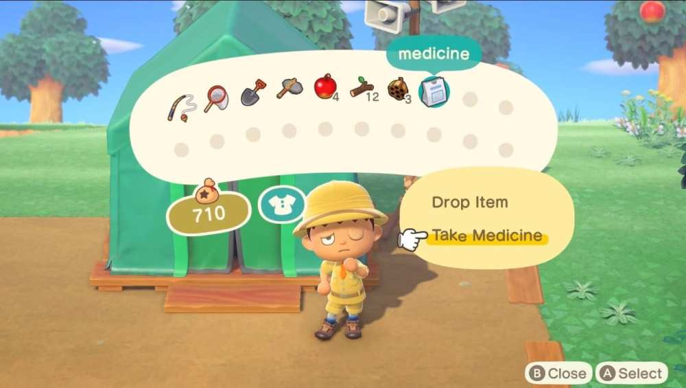 taking medicine in Animal Crossing: New Horizons