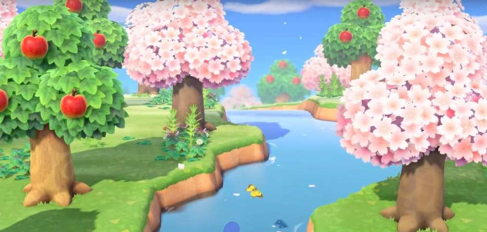 cherry pink blossom trees in animal crossing new horizons